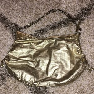 Banana Republic Gold Leather Chain Link Strap Bag